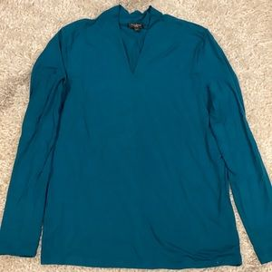 Talbots Teal Double Layer Knit Top - Petite M